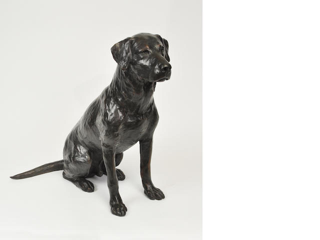 A patinated bronze sculpture of Labrador retriever<BR />by W. Stanley Prowor<BR />late 20th century