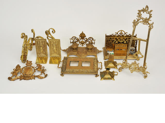 A group of ten brass, gilt bronze and gilt metal desk and other articles<BR />20th century