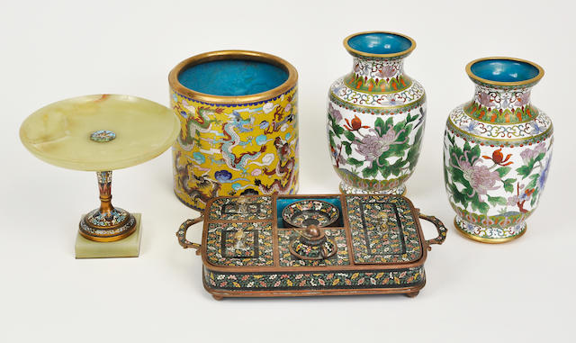 Five cloisonne enamel table items 20th century