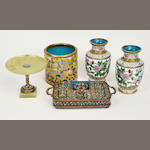 Five cloisonne enamel decorated table items<BR />20th century