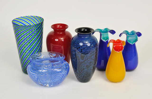 Seven Murano and other glass vases   20th century