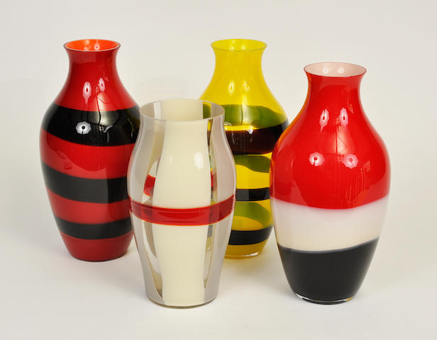 Four large ovoid form Murano glass vases by Carlo Moretti 20th century
