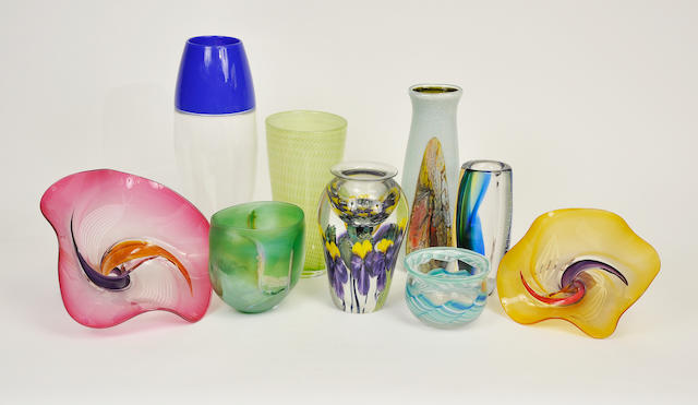 Nine assorted glass vases<BR />20th century