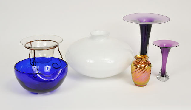 Six various glass vases<BR />20th century