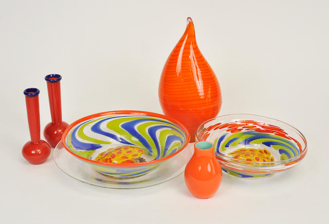 Seven Murano glass table articles<BR />20th century
