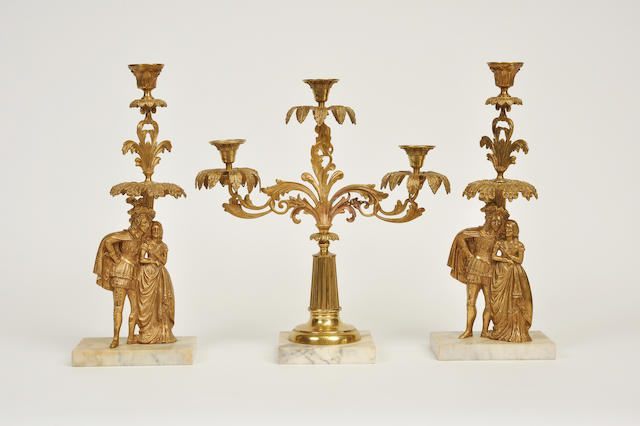 A Victorian gilt metal and marble garniture<BR />second half 19th century