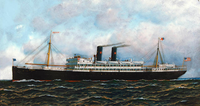 Antonio Nicolo Gasparo  Jacobsen (American, 1850-1921) Steamship Brazos 19 x 34-1/2in (48.3 x 87.7cm)