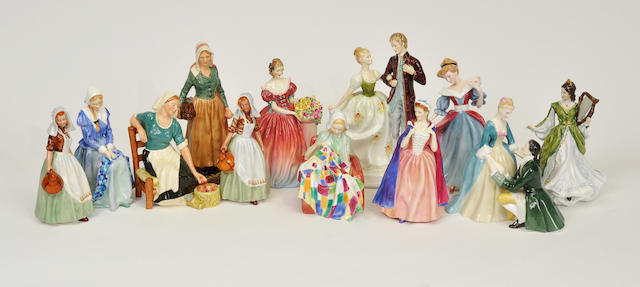 Twelve Royal Doulton glazed earthenware figures 20th century