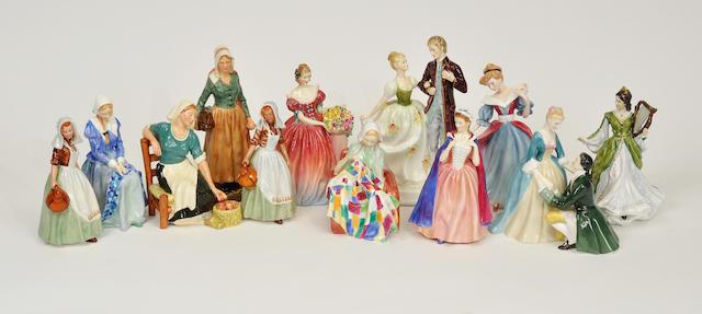 Twelve Royal Doulton glazed earthenware figures 20th century