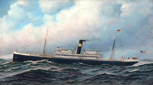 Antonio Nicolo Gasparo  Jacobsen (American, 1850-1921) The American liner Ponce at sea, 1912 19 1/2 x 35 in. (49.5 x 88.8 cm.)