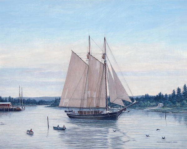 Charles F. Kenney (American, 20th century) Maine Lumber Schooner 16 x 20in