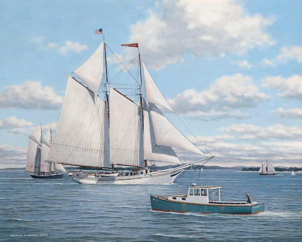 Charles F. Kenney (American, 20th century) The Rockland windjammer Heritage 16 x 20in (40.6 x 50.8cm)