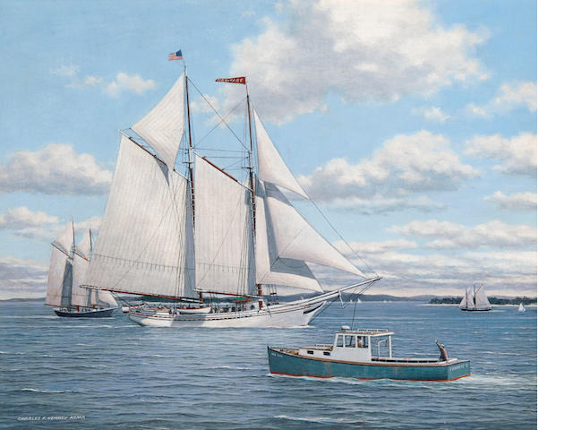 Charles F. Kenney (American, 20th century) Rockland Windjammer Heritage 16 x 20in