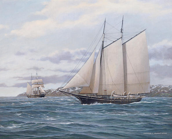 Charles F.  Kenney (American, 20th century) The whaling schooner Margaret 16 x 20in (40.6 x 50.8cm)
