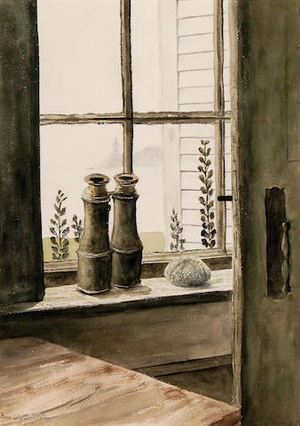 Ann Wyeth McCoy (American, 1915-2005) Maine Window 19 1/2 x 14in