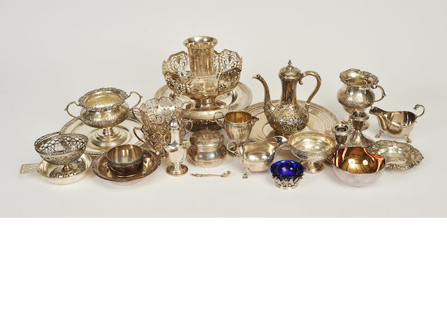 A miscellaneous group of various sterling silver table articles<BR />late 19th century and later