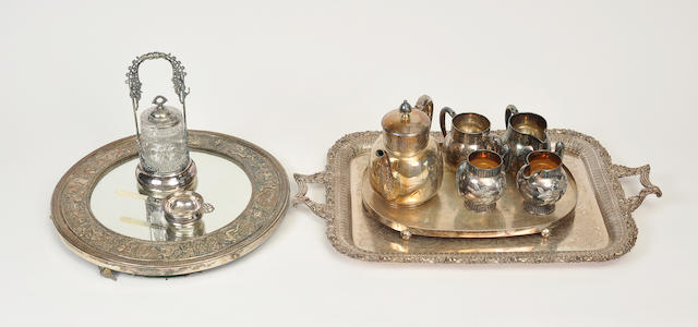 Eleven silver-plated various table articles<BR />late 19th century