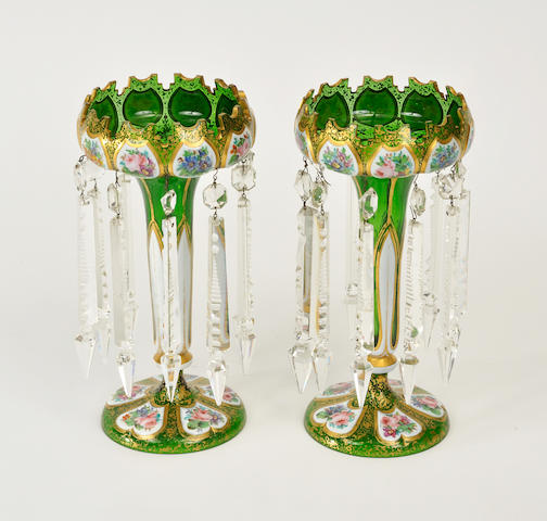 Pair of Victorian enameled and gilt green glass lusters