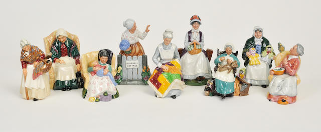 Nine Royal Doulton glazed earthenware figures