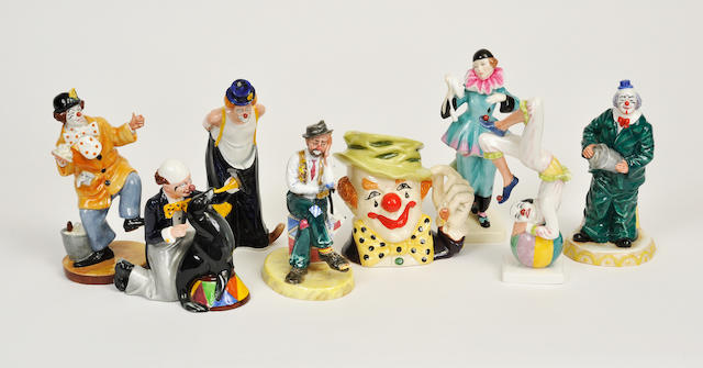 Six Royal Doulton glazed earthenware figures of clowns