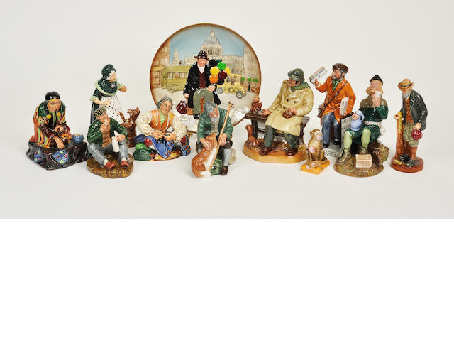 Nine Royal Doulton glazed earthenware figures or figural groups