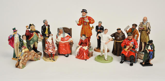 Fifteen Royal Doulton glazed earthenware figures or figural groups
