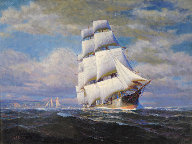 Vivian Fosythe Porter (American, 1888-1982) Sailing Ship 15 x 20in