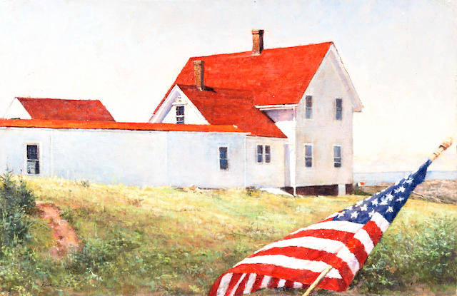 Peter Poskas (American, born 1939) Porch Flag, Monhegan Light 9 1/2 x 14 1/2in (23.5 x 36.8cm)