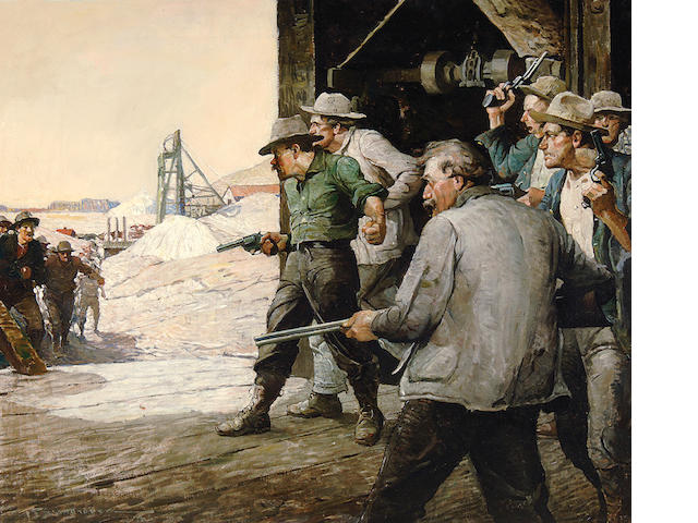 Frank Earle Schoonover (American, 1877-1972) California Gold Mine 30 x 36in