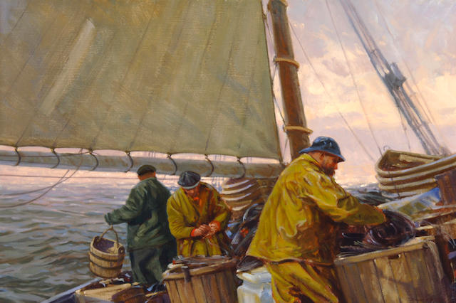 Don Stone (American, born 1929) Men on Fishing Boat 20 x 30in (50.8 x 76.2)