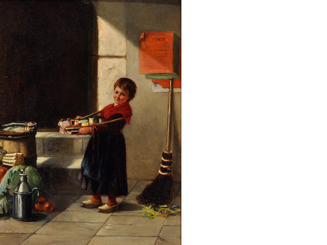 Charlotte Lontrein, 19th century Girl with Tray 12 1/2 x 9 1/2in