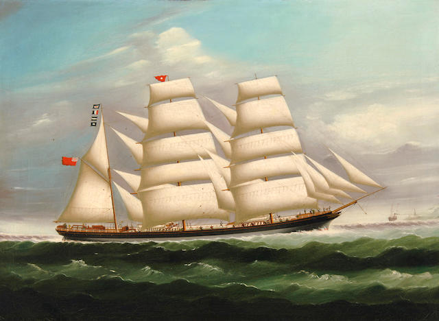 Continental School, 19th Century The three masted barque Raigmullen at sea 25 1/2 x 34 1/2in (64.7 x 87.3cm)