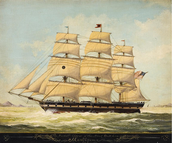 American School, 19th century The Packet Clipper of the Black Ball Line 20 x 24in