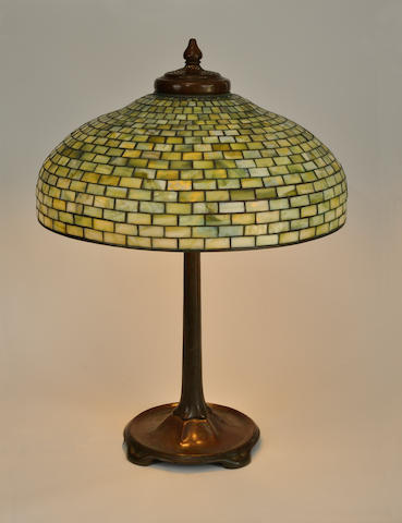 Bonhams A Tiffany Studios Favrile Glass And Patinated Bronze Geometric Table Lamp First Quarter 20th Century