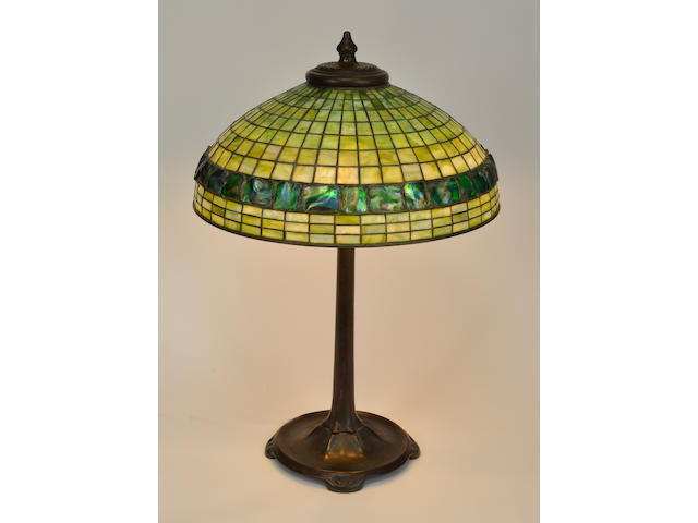 A Tiffany Studios Turtleback tile Favrile glass and patinated bronze green Geometric table lamp<BR />first quarter 20th century