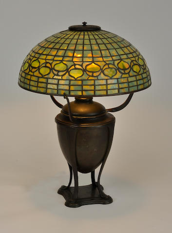 A Tiffany Studios Favrile glass and patinated bronze Acorn table lamp<BR />first quarter 20th century