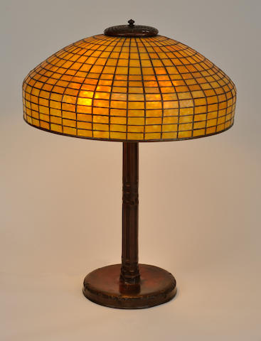A Tiffany Studios Favrile glass and patinated bronze Amber Geometric table lamp<BR />first quarter 20th century