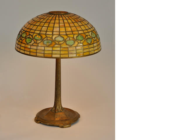 A Tiffany Studios Favrile glass and gilt-bronze Acorn table lamp<BR />first quarter 20th century