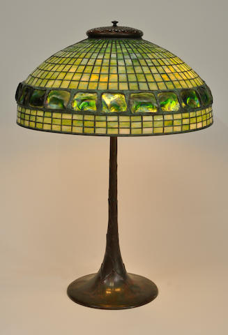 A Tiffany Studios Turtleback Tile Favrile glass and patinated bronze Geometric table lamp<BR />first quarter 20th century