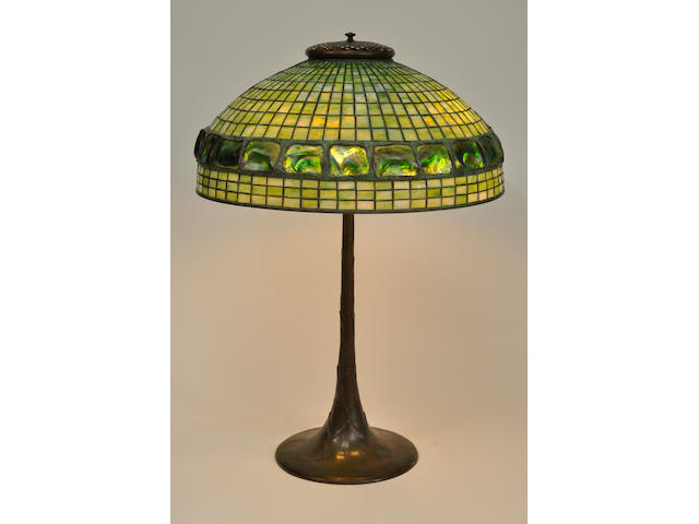 A Tiffany Studios Turtleback tile Favrile glass and patinated bronze Geometric table lamp first quarter 20th century
