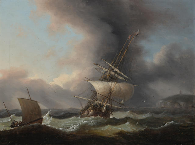 Thomas Luny (British, 1759-1837) A frigate off the coast 15 x 20in (38 x 50.8cm)