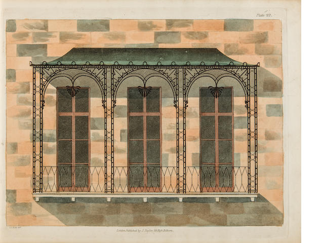 BUSBY, CHARLES AUGUSTIN. 1786-1834. A Collection of Designs for Modern Embellishments Suitable to Parlours, Dining & Drawing Rooms, Folding Doors, Chimney Pieces, Varandas, Frizes, &c. London: Edward Lumley [-J. Taylor], [paper watermarked 1834].