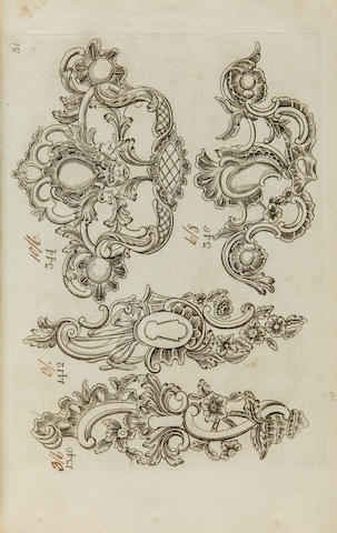 TRADE CATALOGUE. Catalogue of metalwork including drawer-pulls, castors, escutcheons, hook, hinges, onlays, and other fittings. [Birmingham?: c.1770.]