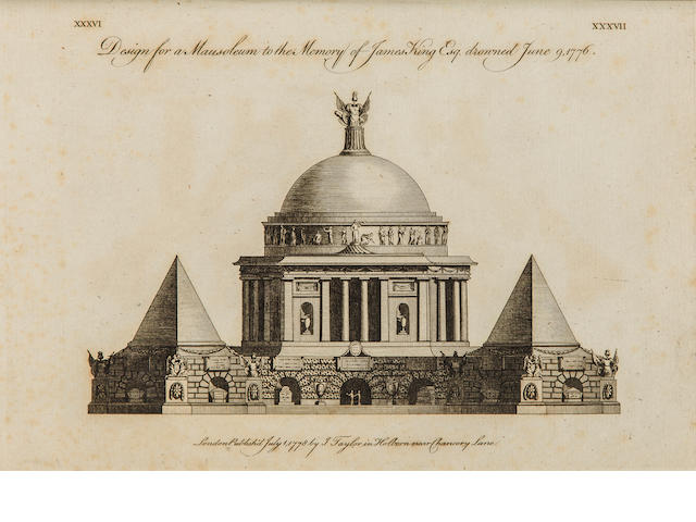 SOANE, JOHN. 1753-1837. Designs in Architecture; Consisting of Plans, Elevations, and Sections, for Temples, Baths, Cassines, Pavilions, Garden-Seats, Obelisks, and other Buildings. London: I. Taylor, 1778.