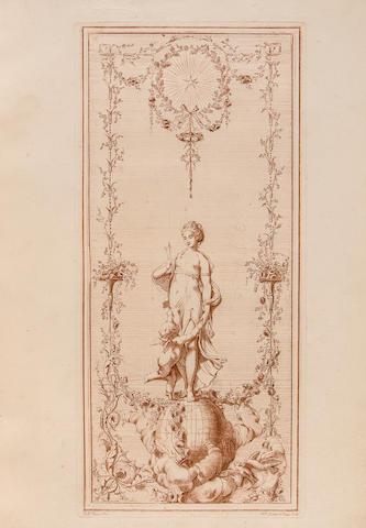 CAUVET, GILLES PAUL. 1731-1788. Recueil d'ornemens à l'usage des jeunes artistes qui se destinent à la décoration des bâtimens.... Paris: the Author, 1777.<BR />