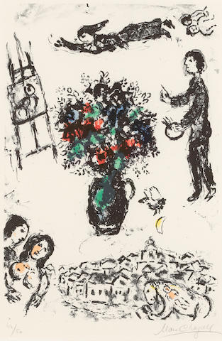 Marc Chagall (1887-1985); Bouquet over the Town;
