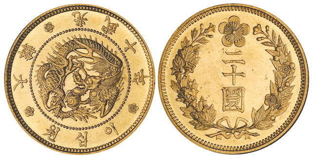 Korea Empire, Kuang Mu, 1897-1907, Gold 20 Won, Year 10 (1906) MS64 NGC