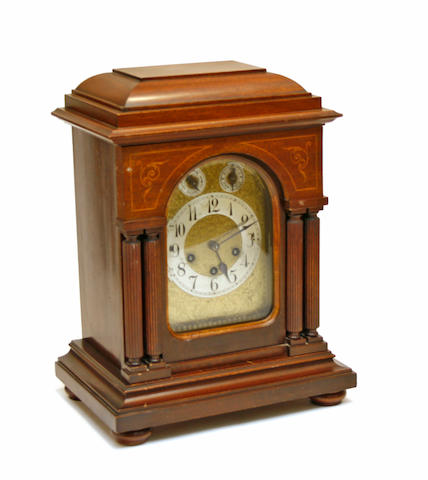 A George III style inlaid mahogany bracket clock with Westminster chime Junghans early 20th century