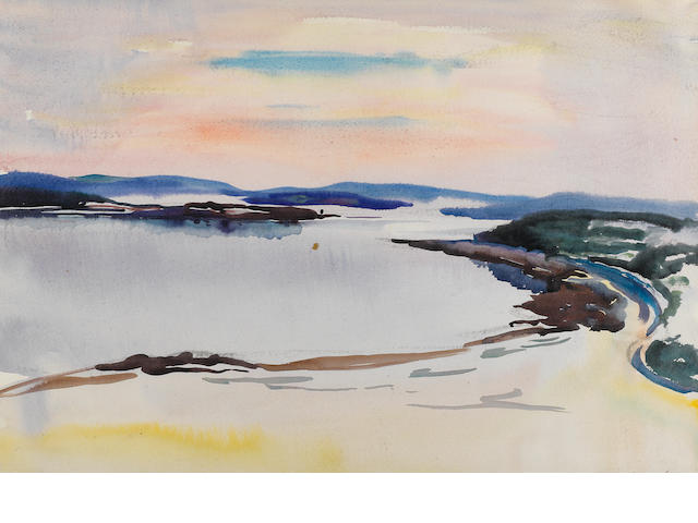 William Zorach.  Watercolor on paper, landscape at water's edge.  $1000/1500