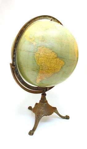 An American 16-inch globe on cast iron stand Denoyer-Geppert Company, Chicago<BR />circa 1920